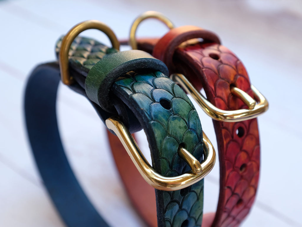 Leather Dragon Scale Dog Collar
