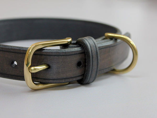 Leather Dog Collar - Grey