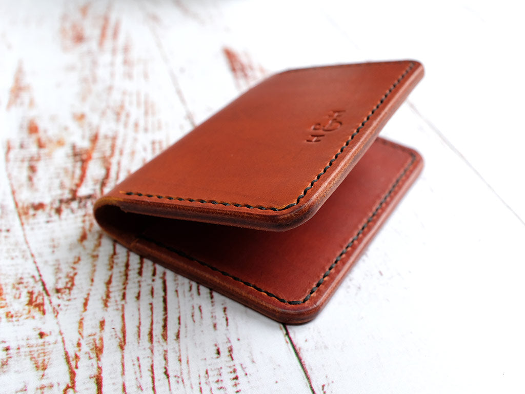 Italian Leather Folding Card Wallet - Tan