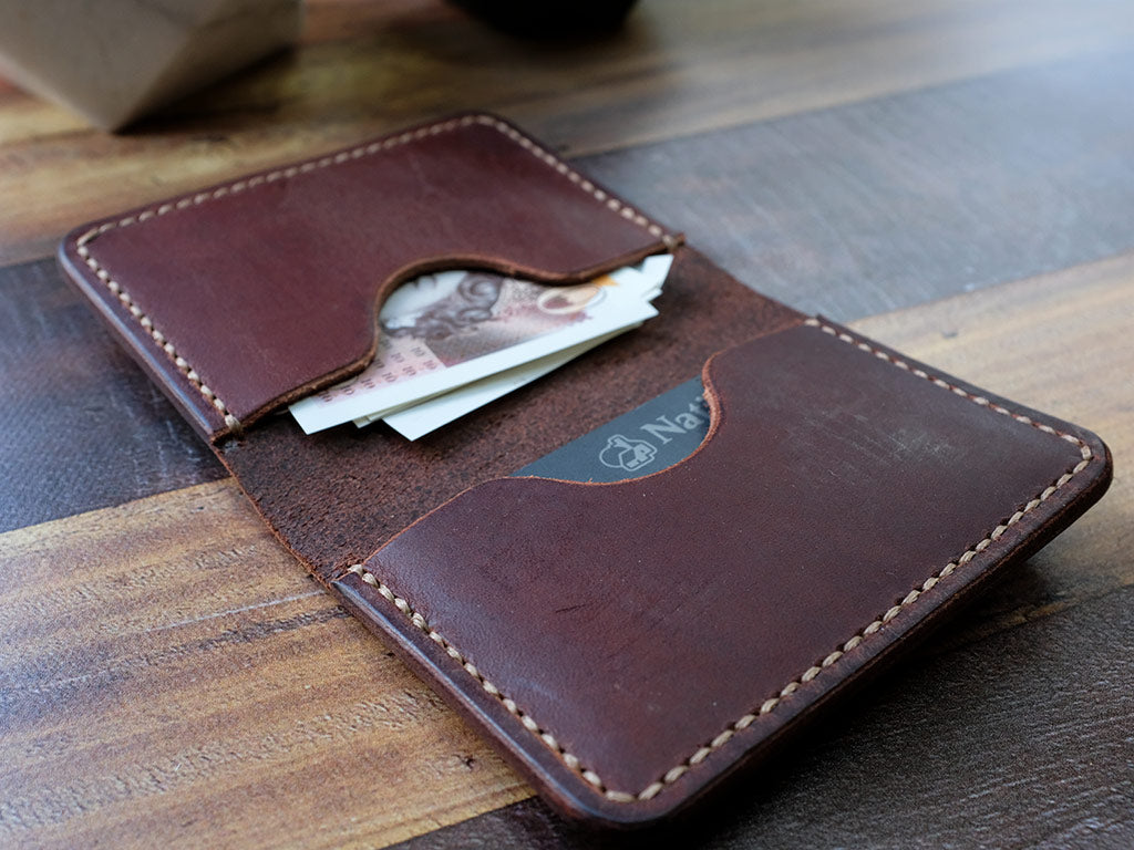 Italian Leather Folding Card Wallet - Brown