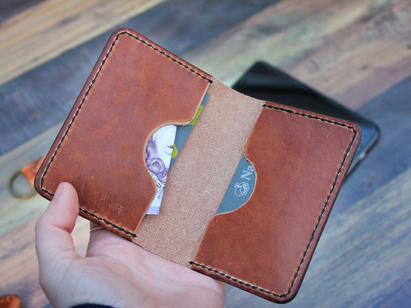 Slim Folding Leather Card Wallet - Horween Dublin