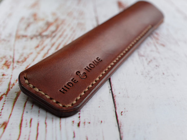Italian Leather Pen Sleeve - Brown