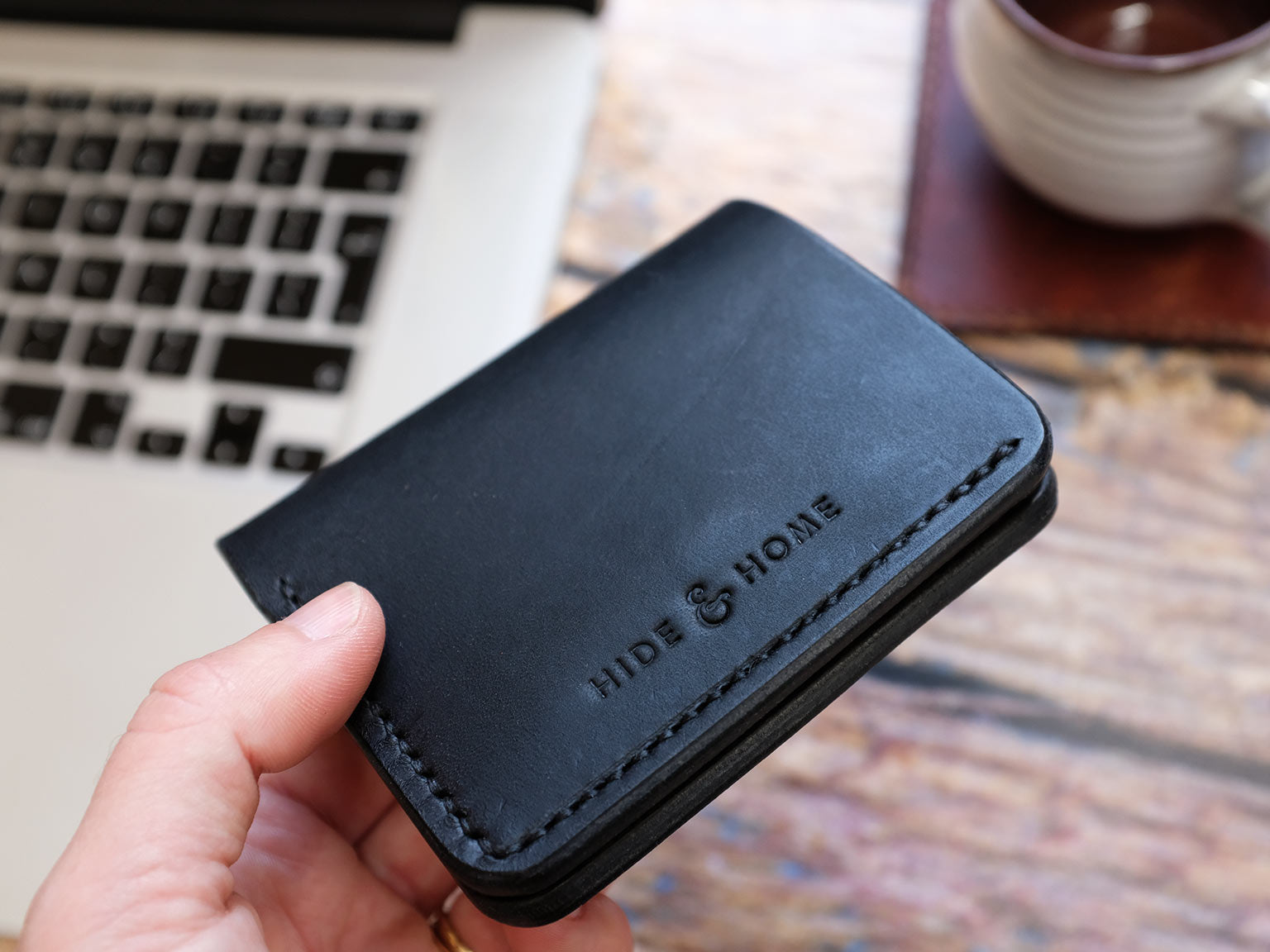 Italian Leather Bi-fold Popper Wallet - Black
