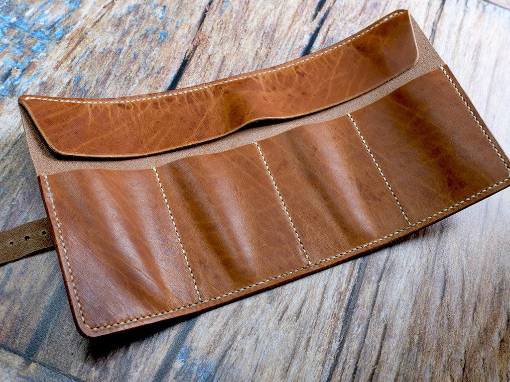 Leather Watch Roll in Horween Dublin - Natural