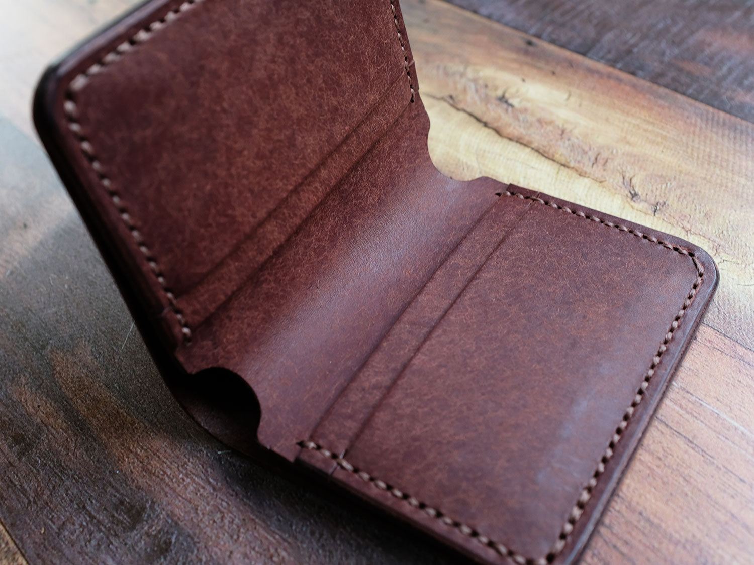 Italian Leather Bi-fold Wallet - Brown