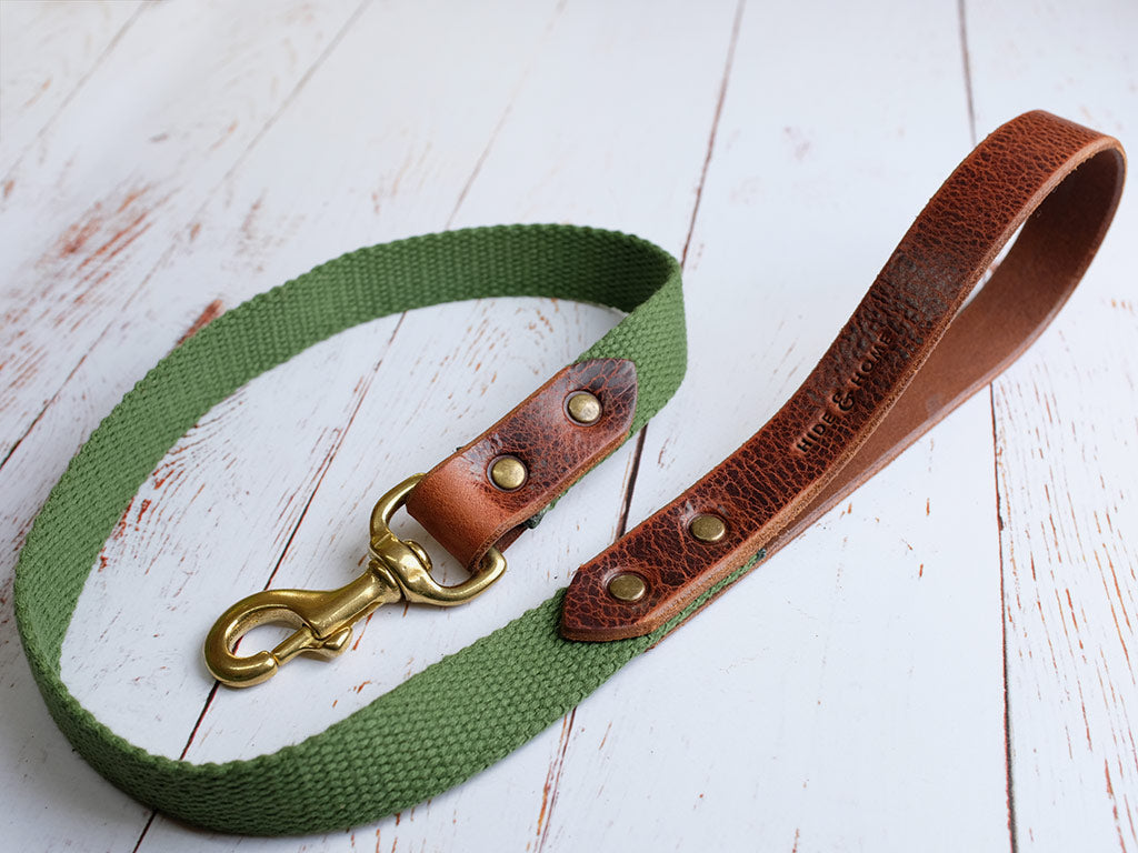 Leather Dog Collar & Lead Set - Deep Tan