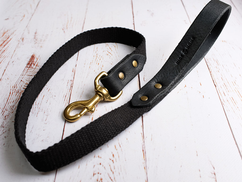 Leather Dog Lead - Black