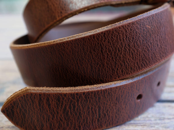 Leather Belt 35mm with Textured Brass Buckle
