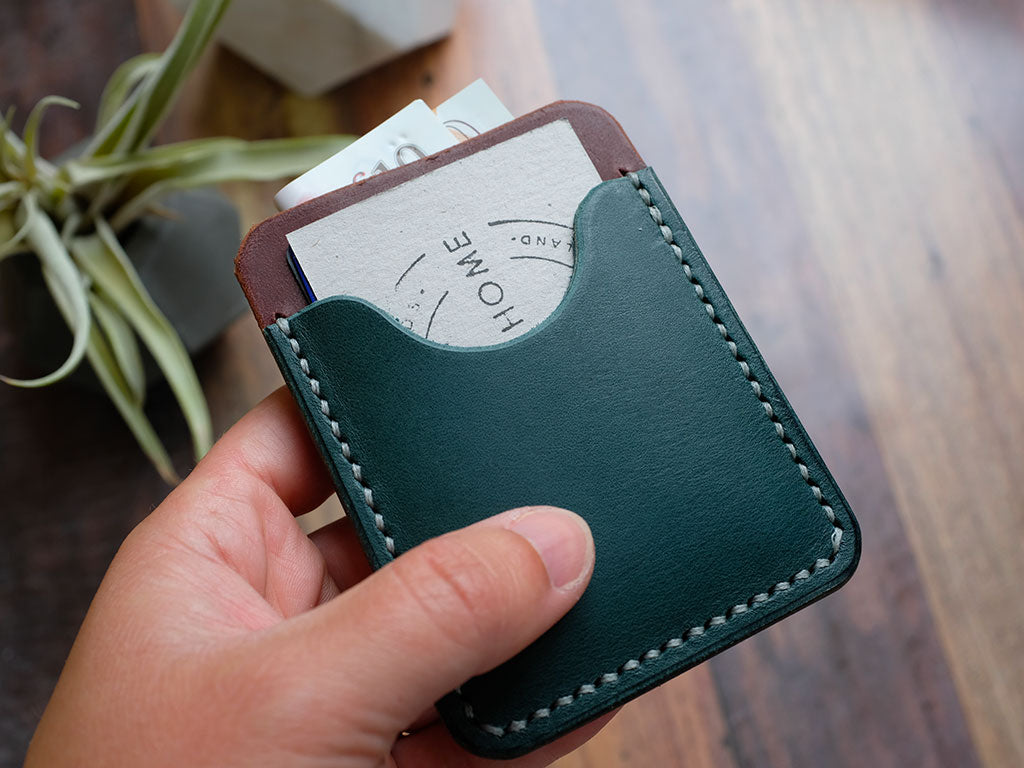 Italian Leather Pocket Card Holder - Blue