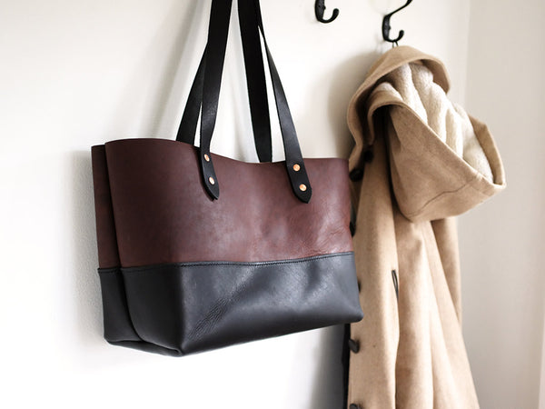 Handmade Leather Tote Handbag Large - Black & Brown