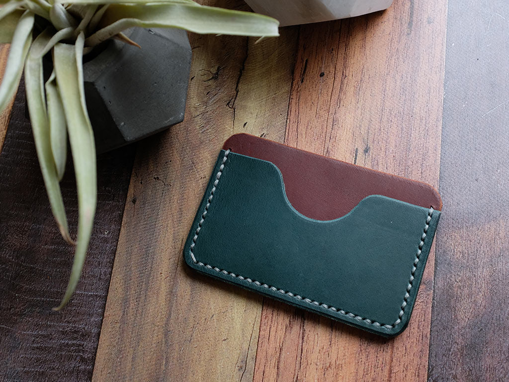 Italian Leather Slim Card Holder - Blue