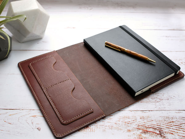 Italian Leather Notebook Cover A5 - Brown