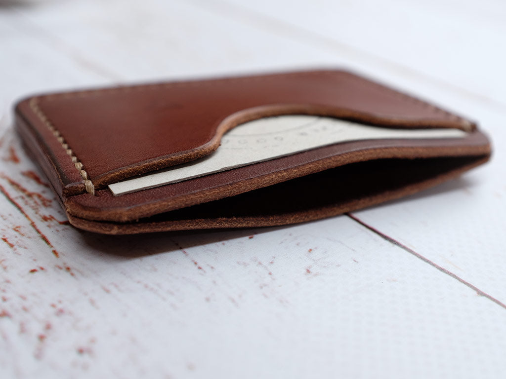 Italian Leather Slim Card Holder - Brown