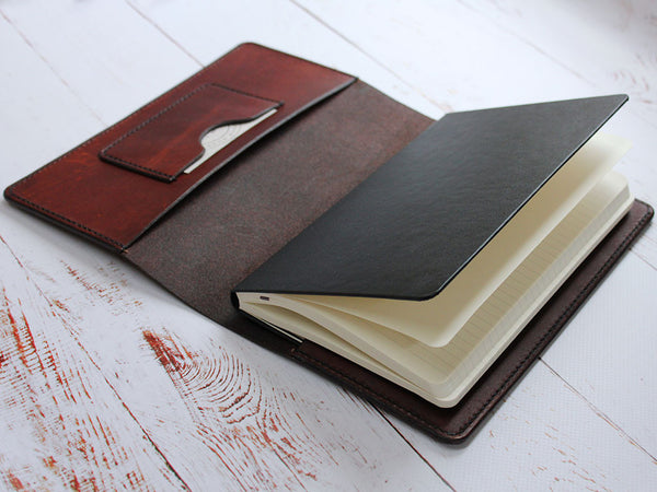A5 Leather Notebook Cover Minimal - Brown
