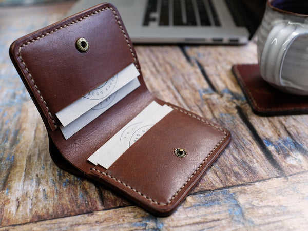 Italian Leather Bi-fold Popper Wallet - Brown
