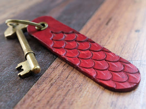 Dragon Scale Leather Key Fob