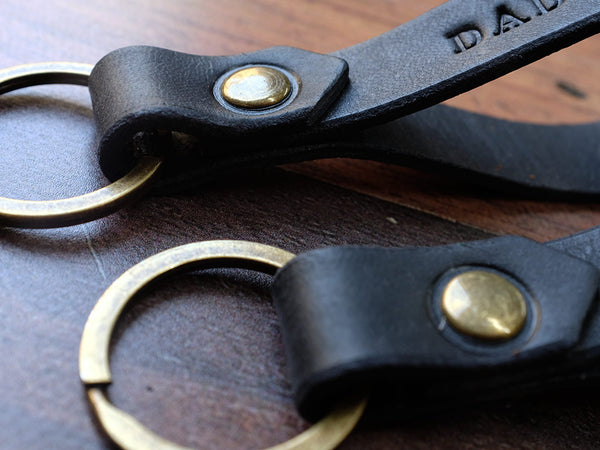 Set of Two Italian Leather Keyrings - Black