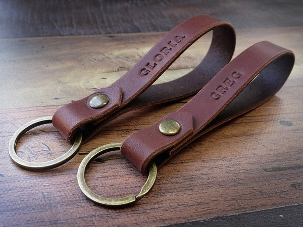 Set of Two Italian Leather Keyrings - Brown