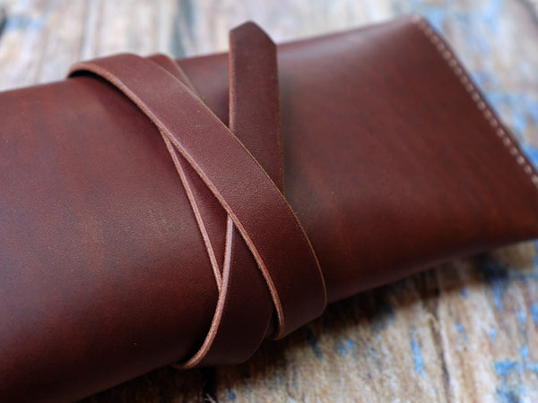Italian Leather Pencil Case - Brown