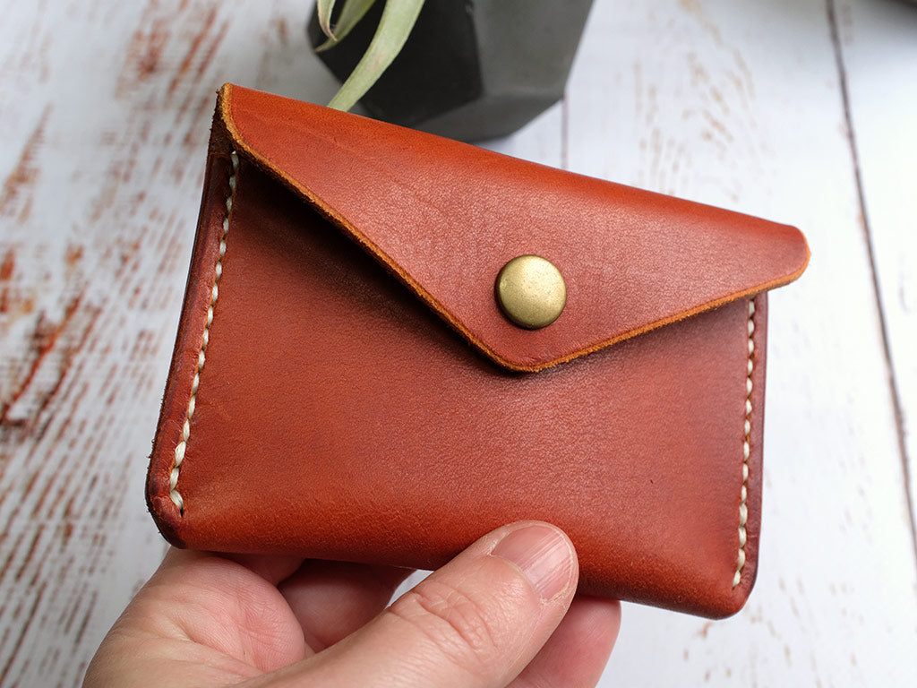 Italian Leather Button Wallet - Tan