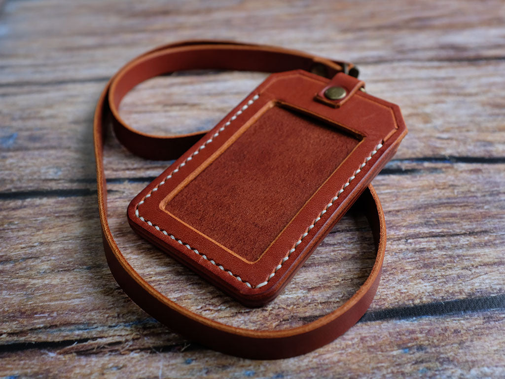 Italian Leather ID Holder with Lanyard - Tan