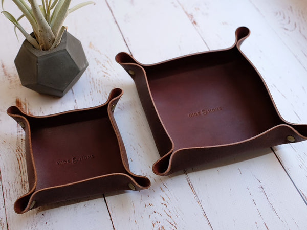 Leather Valet Tray & Desk Tidy Set
