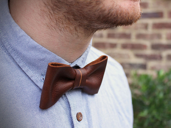 Brown Leather Bow Tie - Hide & Home - 1