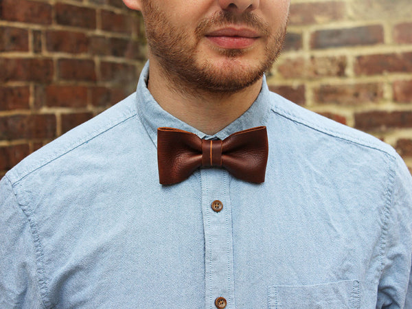 Brown Leather Bow Tie - Hide & Home - 4
