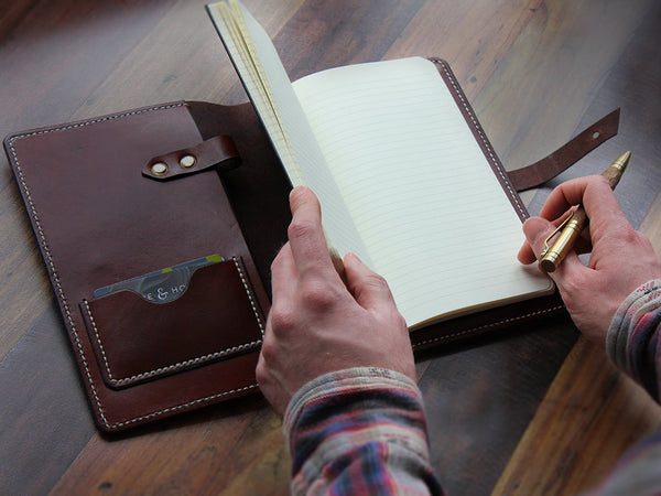 A5 Leather Notebook Cover - Brown - Hide & Home - 1
