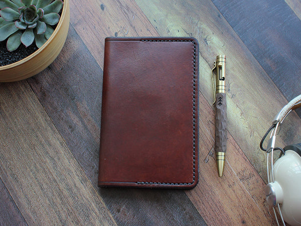 Leather Notebook Cover Pocket - Brown - Hide & Home - 1