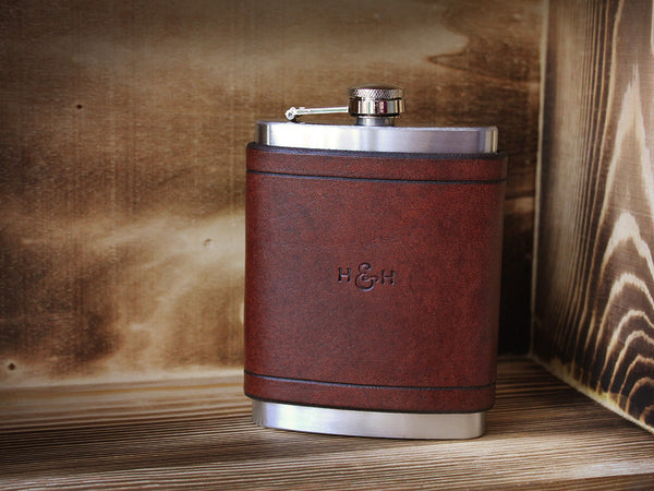 Leather Flask 8oz - Brown - Hide & Home - 2