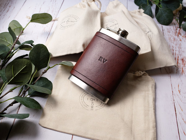 Leather Flask 8oz - Brown