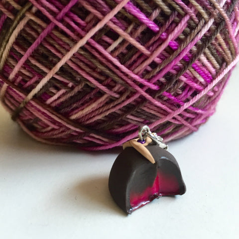 Monthly Stitch Marker- September '15 Chocolate Raspberry Truffle