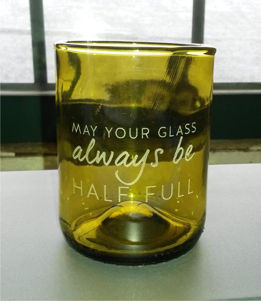 "Wine Punts- Laser Etched with ""May Your Glass Always Be Half Full"""