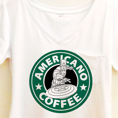 Captain America Americano Coffee Shirt | Avengers Civil War Starbucks | Disney Marvel