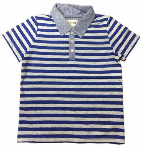 Me & Henry Blue Stripe S/S Polo Shirt