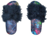 Iscream Paint Splatter Denim Fur Slides - Basically Bows & Bowties