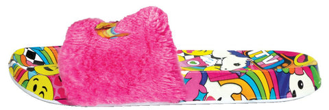 iscream emoji embroidered fur slides basically bows bowties
