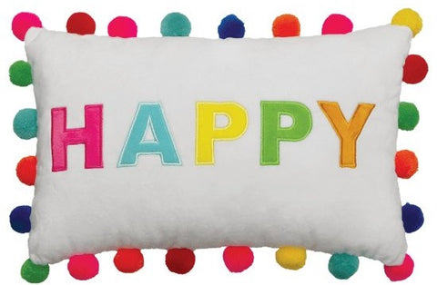 Iscream Happy Pom Pom Embroidered Pillow