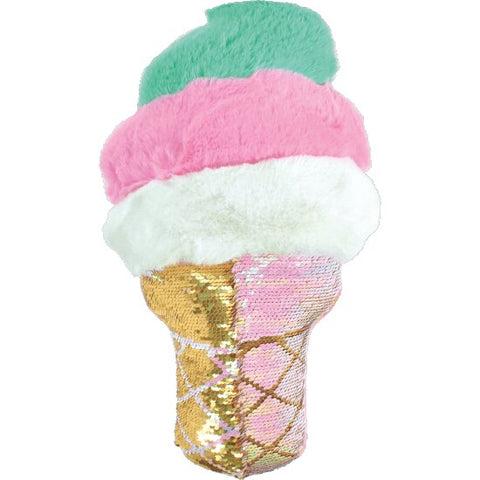 Iscream Swirl Ice Cream Cone Reversible Sequin Pillow Basically Bows & Bowties