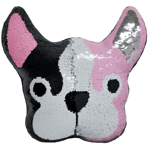 Iscream French Bulldog Reversible Sequin Pillow Basically Bows & Bowties