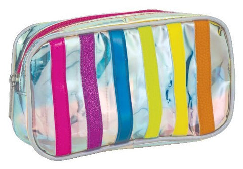 Iscream Iridescent Striped Small Cosmetic Bag Basically Bows & Bowties
