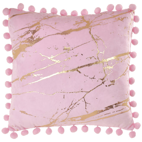 Iscream Pink Marble Pom Pom Pillow Basically Bows & Bowties