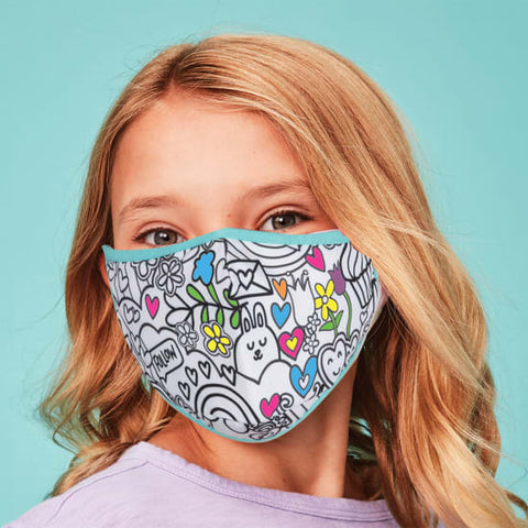 Iscream Children's Color Me Face Mask w/Markers - Over the Rainbow