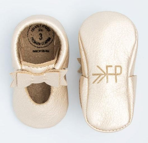 Freshly Picked Platinum Ballet Flat Bow Moccasins