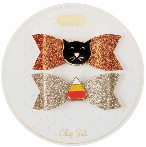Mud Pie Cat & Candy Corn Halloween Clip Set