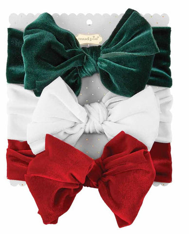 Mud Pie Holiday Velvet Headband 3pc Set