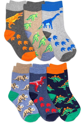 Jefferies Dinosaur Pattern Crew Socks (6 Pair)