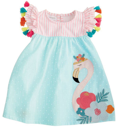 Mud Pie Flamingo Tassel Dress