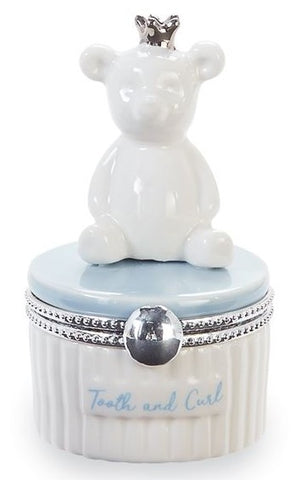 Mud Pie Blue Bear Tooth & Curl Keepsake Box